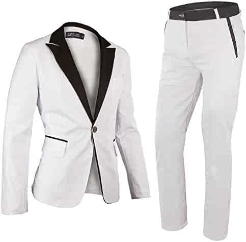 4fc2207b7 White Suit Mens One Button Suit Wedding Groom Tuxedos 2 Pieces Dance  Costume Set