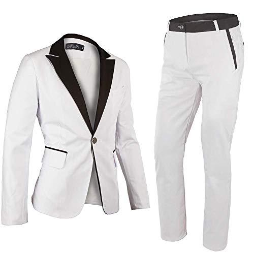 2 Button Notch Tuxedo - Minghe Men's One Button Notch Lapel Slim Fit 2-Piece Blazer Suit White Large