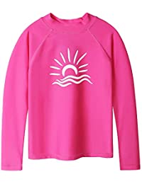 Girls & Boys Long Sleeve Rash Gurad Suit UPF 50+ Kids Athletic Tops Swimwear Sunsuits 3-10Years