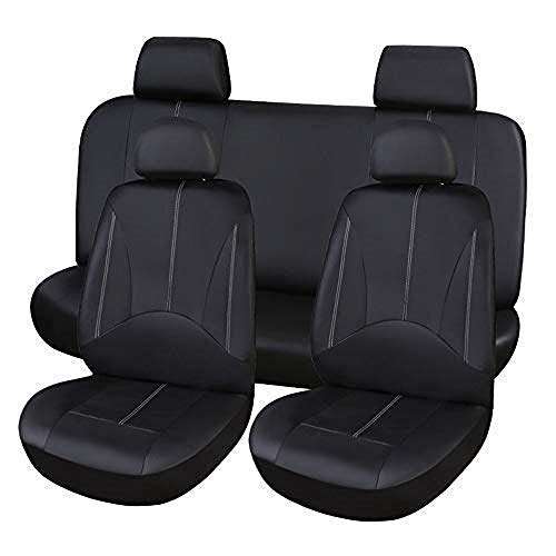 (10 pcs Leather Car Seat Covers Full Set, Durable Waterproof Car Seat Protector, Saver Cover Mat for Back Seat Leather Upholstery (Black))