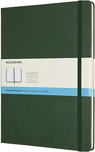 Moleskine-Classic-Dotted-Paper-Notebook-Hard-Cover-and-Elastic-ClosureJournal-Myrtle-Green-Extra-Large-19-x-25-A4-192-Pages