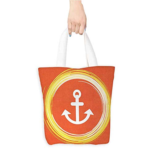 Washable Grocery Tote with Pouch,Anchor,Anchor Image in a Circle Round Enlightened Drawing Controlling the Seabed Print,Canvas Shopping Beach Cloth Tote,Orange Yellow