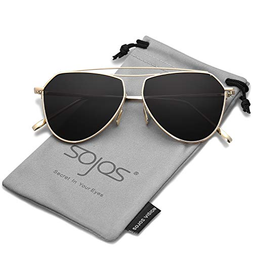 SojoS SJ1040 Marco Lentes Aviador Memory Puente De Mujer Gafas Sol C1 Espejo Flex Doble Lentes Metal Dorado Hombre Clásico Grises a6qarxMwK