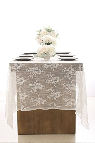 Ling's moment White Wedding Lace Tablecloth/Table Runner/