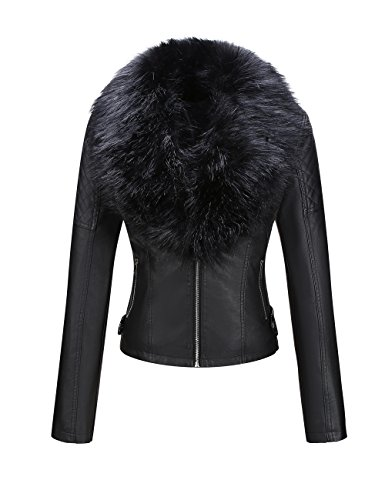 Bellivera Women's Faux Leather Short Jacket, Moto Coat with Detachable Faux Fur Collar for Winter