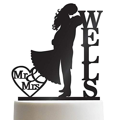 Groom & Bride Kissing Each Other Customized Wedding Cake Topper Personalized Cake Topper Wedding Favor Last Name To Be | Solid Color Cake Toppers