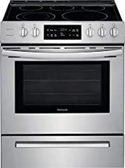 """This 30"""" freestanding electric range by Frigidaire comes with 5 elements and a 5 cu. ft. oven capacity. It also features a keep warm zone, One-Touch self clean, hidden bake element, Store-More storage drawer and is ADA compliant."""