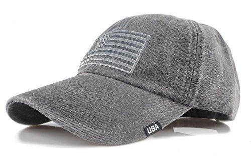 Black Market Vintage (Baseball USA Flag Embroidered Washed Cotton Trucker Distressed Vintage Adjustable Cap (Black))