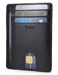 Tarjetero para Hombre Minimalista con Bloqueo RFID — Cartera Delgada de Piel para Caballero — Disponible en 3 Colores: Negro, Azul, y Café — Slim Minimalist Card Holder Wallet for Men — RFID Blocking