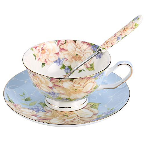 JinGlory Blue Tea Cup,Floral Tea Cup and Saucer Set with Spoon,Bone China Tea Set,Coffee Cup,Tea Set for Adults/Friends/Women/Men,7OZ