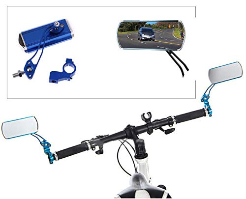 HAPTIME Aluminum Alloy Bycicle Rear View Mirrors, Handlebar End Bike Rectangle Mirrors Support 360° Rotation for MTB Mountain Road Cycling Bicycle Electric Bike - 1 Pair (Blue)