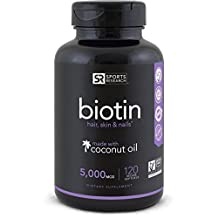 Biotin (Extra Strength) 5000mcg Per Veggie Softgel; Enhanced with Coconut Oil for better absorption; Supports Hair Growth, Glowing Skin and Strong Nails; 120 Mini-Veggie Softgels; Made In USA.