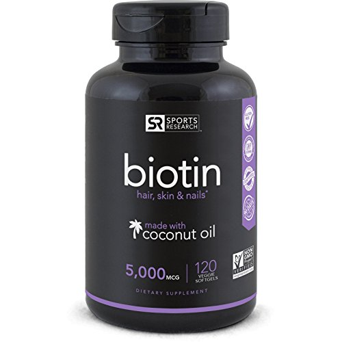 Biotin  5000mcg Per Veggie Softgel; Enhanced with Coconut Oi