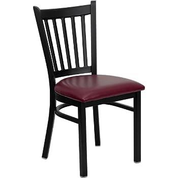 Flash Furniture HERCULES Series Black Vertical Back Metal Restaurant Chair    Burgundy Vinyl Seat