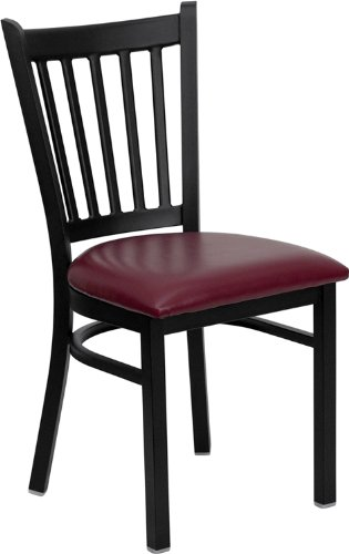 Flash Furniture HERCULES Series Black Vertical Back Metal Restaurant Chair - Burgundy Vinyl Seat - Executive Burgundy Leather