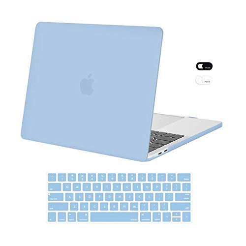 MOSISO Compatible with MacBook Pro 13 inch Case 2020 2019 2018 2017 2016 Release A2338 M1 A2289 A2251 A2159 A1989 A1706 A1708, Plastic Hard Shell Case&Keyboard Cover Skin&Webcam Cover, Airy Blue