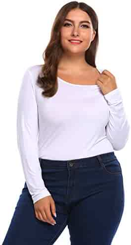 e3ef0065fdb14b IN VOLAND Women s Plus Size Stretchy Long Short Sleeve Bodycon Bodysuit  Leotard Top