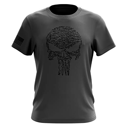 Tactical Pro Supply American Flag Military Army Mens T Shirt (Punisher Guns Grey, XX-Large) -