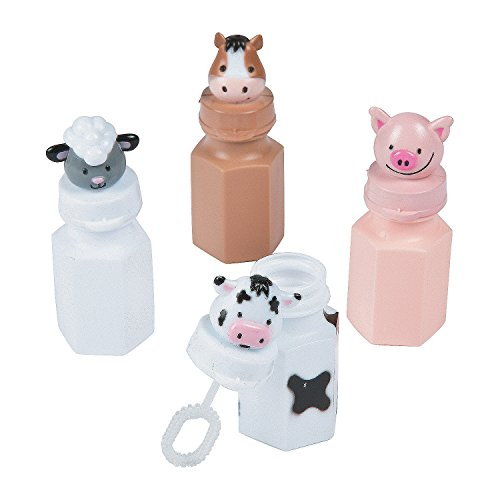 (Fun Express - Barnyard Bubble Bottles - Toys - Bubbles - Mini Bubble Bottles - 1oz - 12)