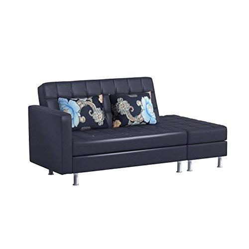 HomCom PU Leather Folding Sofa Couch Sleeper Bed w/ Storage Ottoman - Black