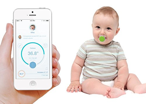 Pacif-i the world's smartest pacifier thermometer allows you to monitor your baby's temperature easily and conveniently from your smartphone. (Green)