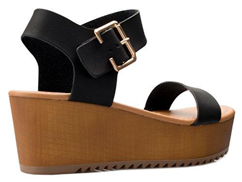 OLIVIA K Women's Platform Buckle Sandal - Open Peep Toe Fashion Chunky Ankle Strap Shoe,Black Pu,9 B(M) US by OLIVIA K (Image #2)