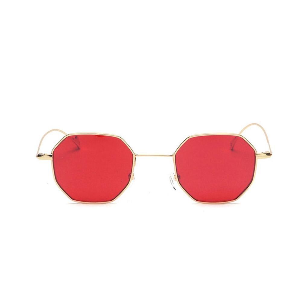 Z&YQ Lunettes de soleil octogonale rétro couleur lentilles lunettes de soleil hommes et femmes , bronze frame tea slice