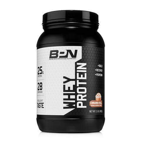 Bare Performance Nutrition, Whey Protein Powder, Meal Replacement, 25G of Protein, Excellent Taste & Low Carbohydrates, 88% Whey Protein & 12% Casein Protein (Cinnamon Roll)