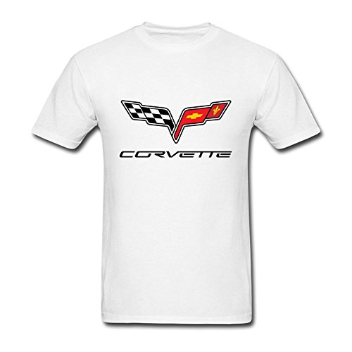 JDShirt Men's Corvette Logo Short Sleeve T-Shirt Medium (Corvette White T-shirt)