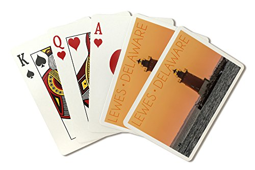 Lewes, Delaware - Cape Henlopen Lighthouse Sunset (Playing Card Deck - 52 Card Poker Size with Jokers)