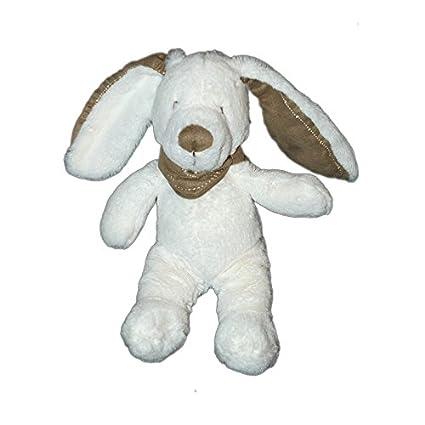Doudou de peluche conejo blanco bandana Topo 25 cm Tex Baby Carrefour