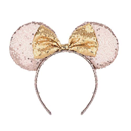 A Miaow Mickey Mouse Sequin Ears Headband Minnie Glitter Hair Clasp Birthday Supply Girls Kids adult (Champagne and Golden)]()