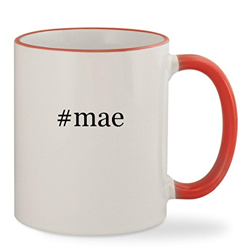 #mae - 11oz Hashtag Colored Rim & Handle Sturdy Ceramic Coffee Cup Mug, Red