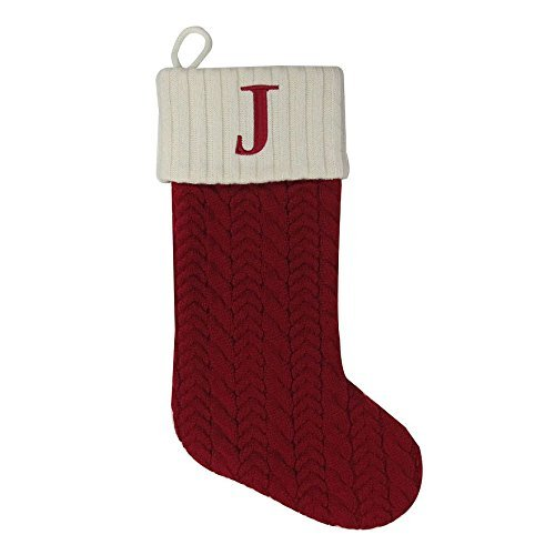 St. Nicholas Square 21 Inch Cable Knit Monogram Christmas Stocking (Embroidered J) by St. Nicholas Square by St. Nicholas Square (Image #1)