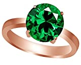 AFFY Round-Cut Simulated Green Emerald Solitaire Ring in 14k Rose Gold Over Sterling Silver (2 Ct)