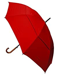 COLLAR AND CUFFS LONDON - Windproof EXTRA STRONG - StormDefender City Umbrella - Vented Canopy - HIGHLY ENGINEERED TO COMBAT INVERSION DAMAGE - Auto Open - Solid Wood Hook Handle - Large - Candy Red