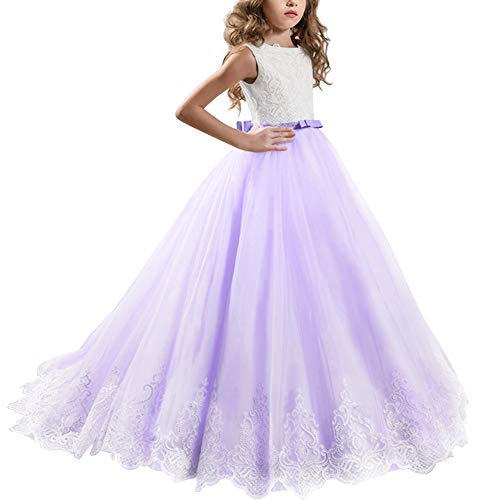 Little Big Girl Lace First Communion Wedding Dress Formal Party Pageant Dance Evening Maxi Ball Gown Floor Length Flower Girls Dress Lavender 2-3 Years ()