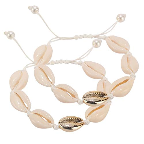 SUNSCSC Handmade Summer Beach Shell Beaded Anklet 2 PCS Barefoot Sandals Bridal Wedding Foot Jewelry (White Rope Pearl Shell)