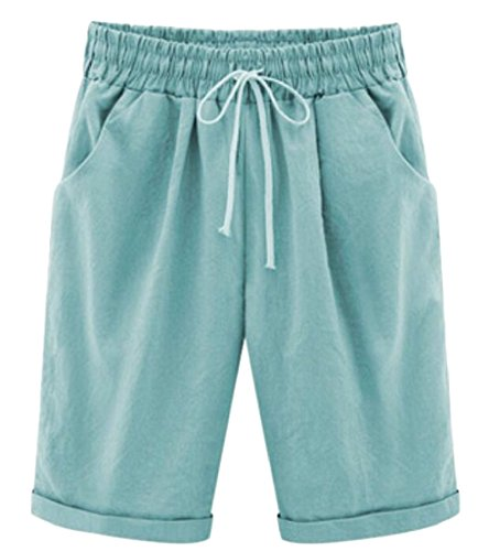 M&S&W Women's New Casual Elastic Waist Knee-Length Curling Bermuda Shorts with Drawstring 2 XS by M&S&W