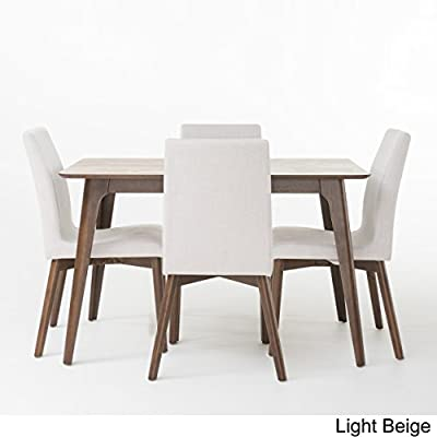 "Katherine Light Beige Fabric/Natural Walnut Finish 50"" Rectangular 5 Piece Mid Century Modern Dining Set - Includes: One (1) Table and Four (4) Chairs Table Dimensions: 35.43 inches deep x 59.06 inches wide x 29.53 inches high Chair Dimensions: 22.05 inches deep x 20.67 inches wide x 35.83 inches high Seat Depth: 16.00 inches Seat Width: 17.30 inches Seat Height: 18.25 inches - kitchen-dining-room-furniture, kitchen-dining-room, dining-sets - 41Mu6C07JsL. SS400  -"
