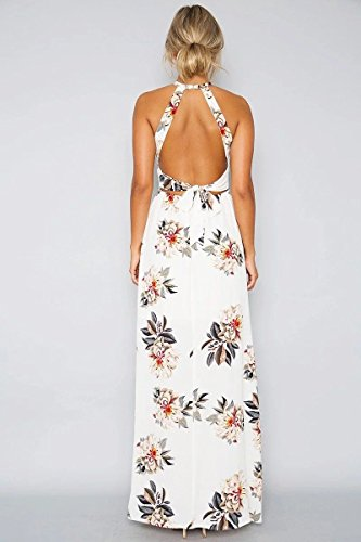 Boho Sexy Halter Chiffon White1 Floral Backless Side Spilt Casual Summer Dress Women's Beach 8RB1R