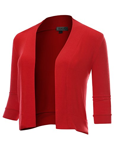 BIADANI Women Classic 3/4 Sleeve Crop Cardigan Red XX-Large