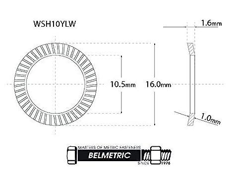 BelMetric WSH6YLW 50pcs Schnorr M6 Yellow Zinc Plated Brand Ribbed Safety Spring Lock Washer Metric