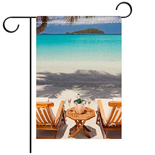 BEICICI Custom Personalized Garden Flag Outdoor Flag Champagne and Flutes at a Tropical Caribbean Beach Decorative Deck, Patio, Porch, Balcony Backyard, Garden or Lawn