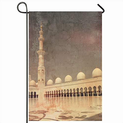 (Ahawoso Garden Flag 12x18 Inches Beige Arabian United Arab Emirates Abu Dhabi Vintage Brown Arabic Arch Attraction Columns Design Outdoor Decorative Seasonal Double Sided Home House Yard Sign)