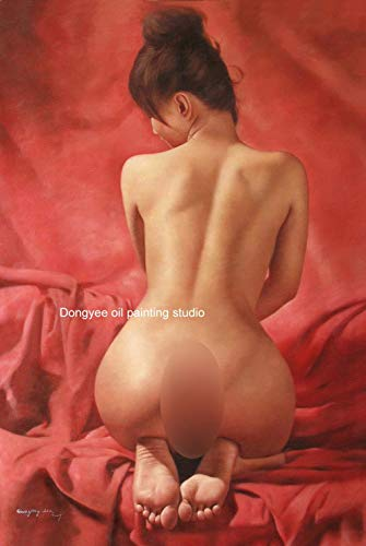 Art Prints Signed on Canvas from Original Oil Painting Nude Girl Sexy Model Charming Lady Female Nude ()