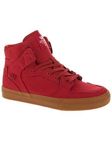 Supra Kids Unisex Vaider  Cardinal Canvas Sneaker 12 Little