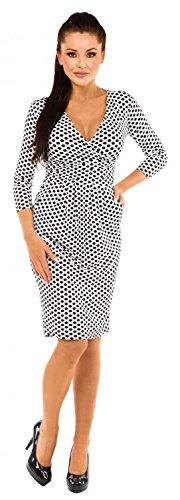 Zeta Ville - Jersey Vestido de Lunares - Cuello en V Cruzada - Para Mujer - 019z Blanco con puntos