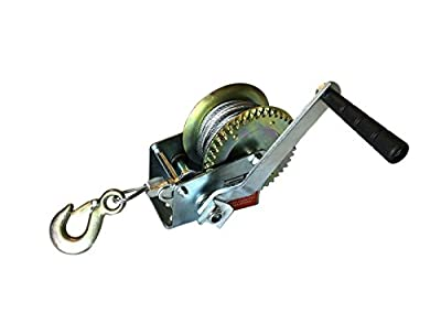 Manual Hand Crank Winch with 26' Long Cable (1,200 Pound Capacity)