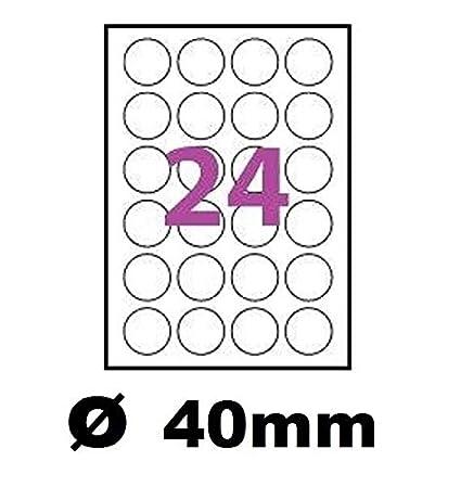 Hojas de 24 etiquetas de plástico de vinilo blanco redondas ...